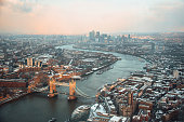 A beautiful view of London from above at sunset