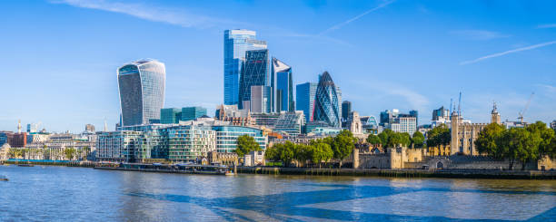 London futuristic skyscrapers of City Financial District overlooking Thames panorama stock photo