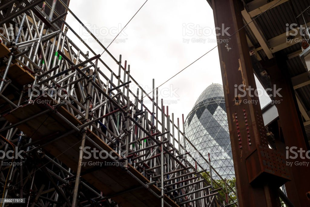 London Gherkin Building and Construction stock photo