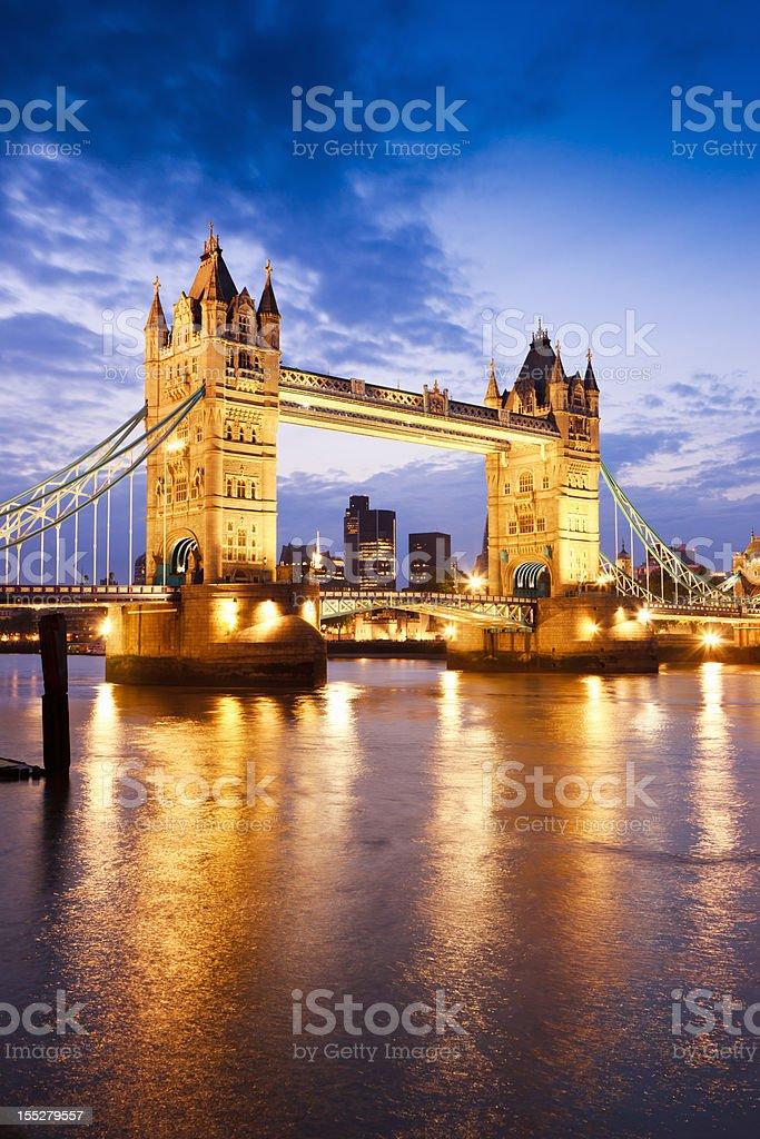 London Great Britain Tower Bridge River Thames Sunset Twilight Scene stock photo