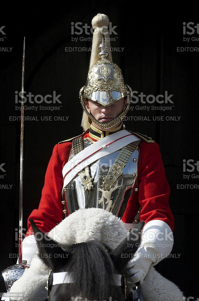 London Guard on Horseback Red Uniform stock photo
