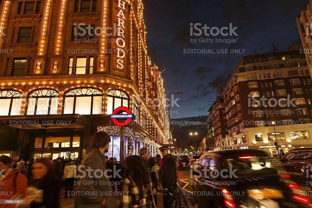 London Harrods Christmas Shopping royalty-free stock photo