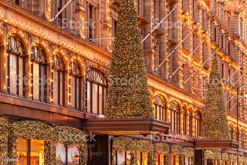 London, Harrods stores facade with Christmas lights stock photo