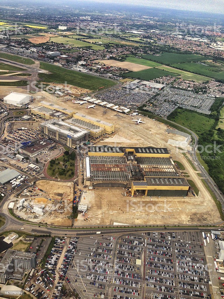 London Heathrow Airport viewed from airplane royalty-free stock photo
