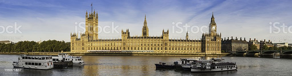 London Houses of Parliament Big Ben Westminster Palace panorama royalty-free stock photo
