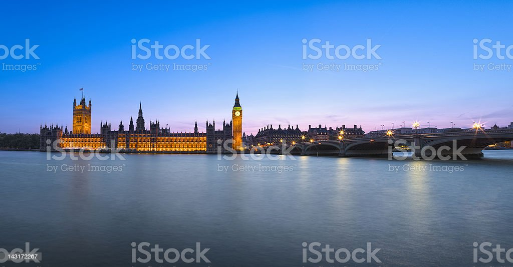 London Houses of Parliament Panorama at Dusk stock photo