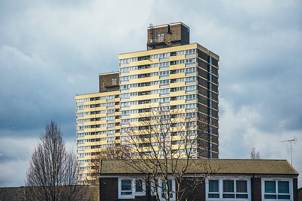 london housing estate - council flat stock photos and pictures