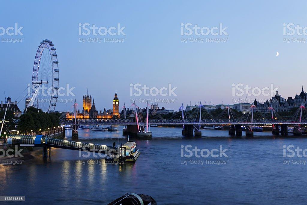 London - Hungerford Bridge at dusk stock photo
