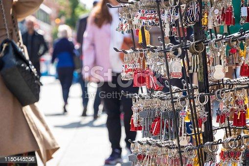 London souvenir on display at Camden market in London, UK