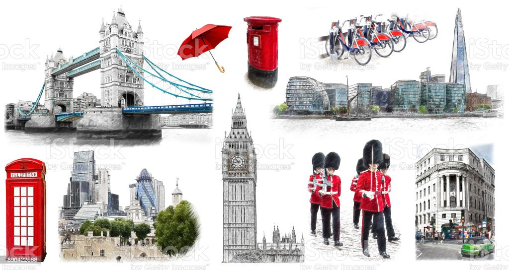 London landmarks, hand drawn collection. Illustration in draw, sketch style. stock photo