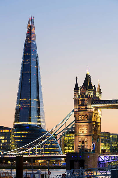 london landmarks - shard london bridge stockfoto's en -beelden