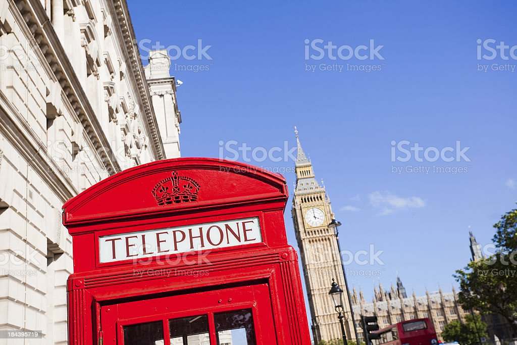 London Landmarks, Red Phone Booth and Big Ben royalty-free stock photo