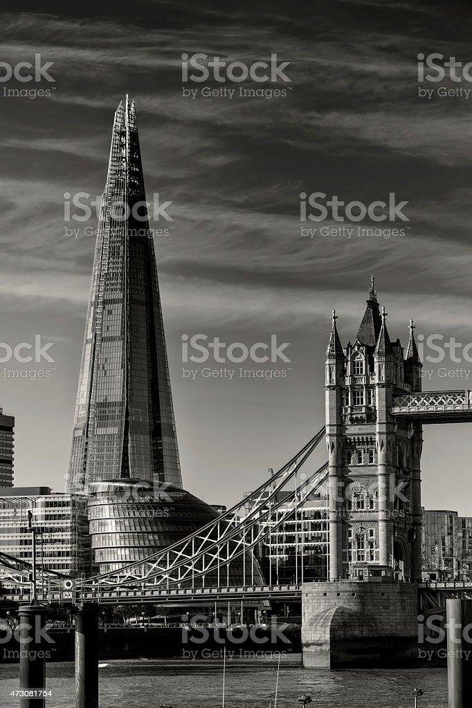 London landmarks: The Shard, Tower Bridge and City Hall stock photo