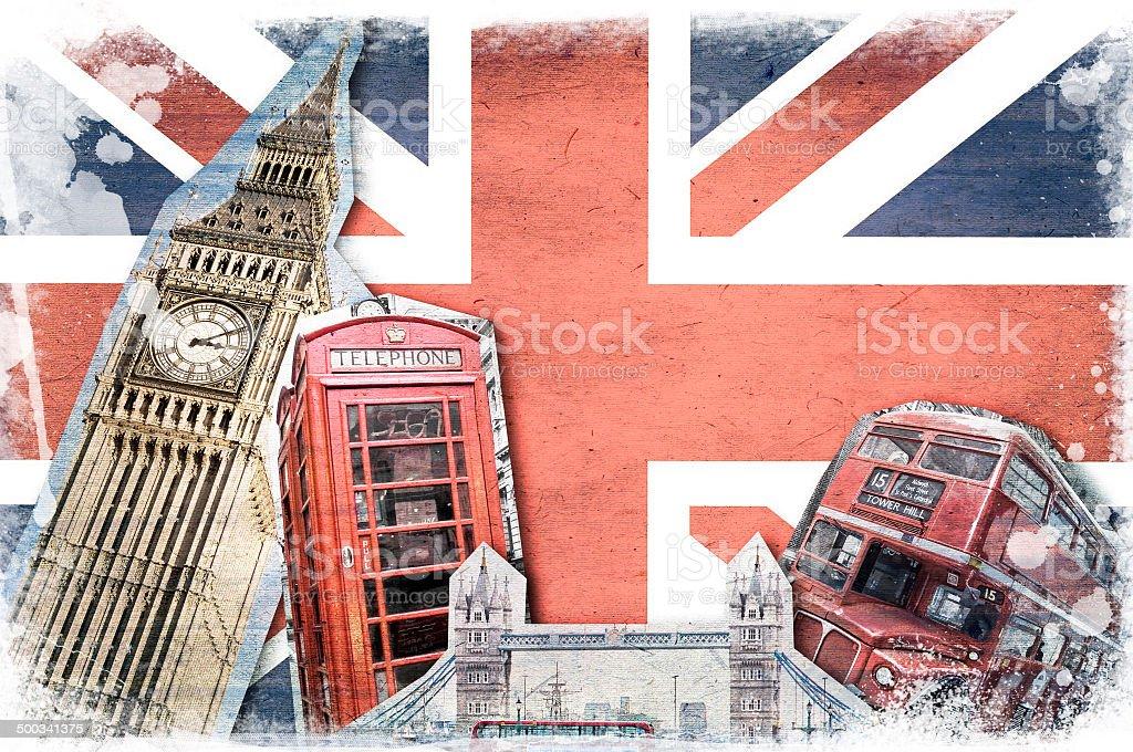 London landmarks, union jack vintage collage stock photo