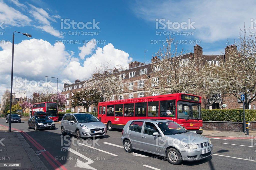 London - light daytime traffic in Wandsworth stock photo