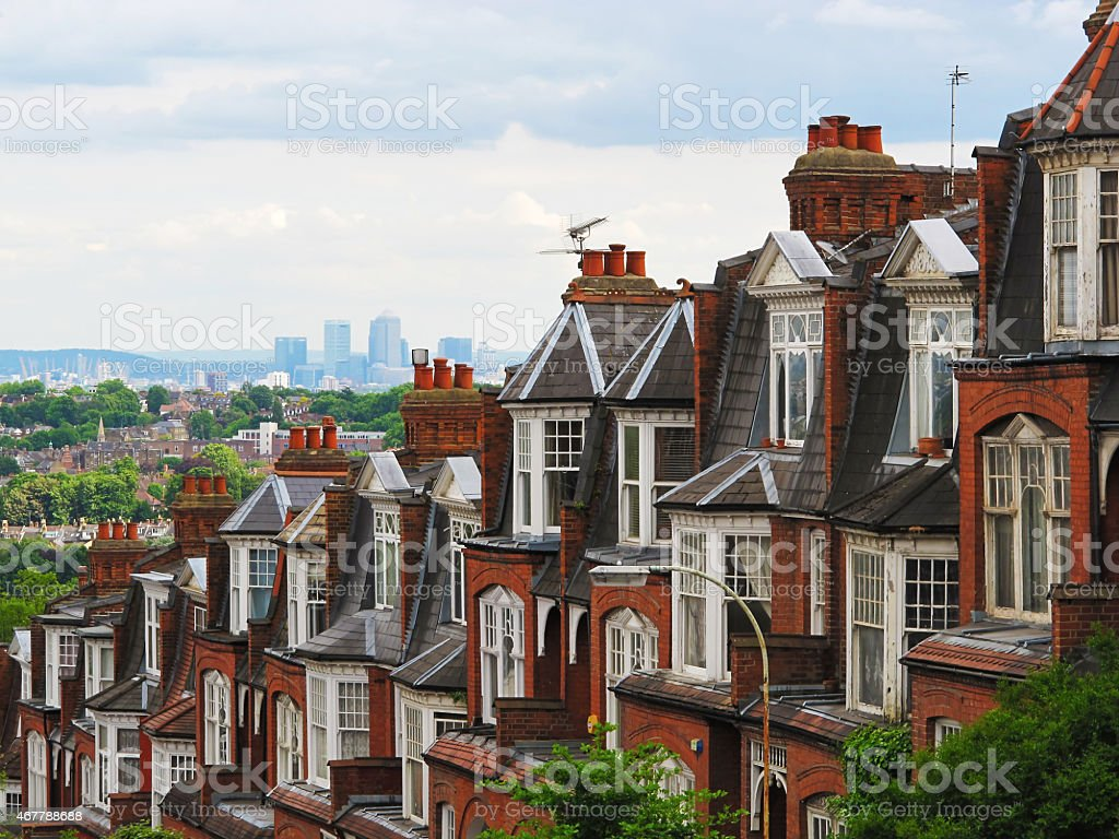 London Mansion Blocks with Canary Wharf in background stock photo