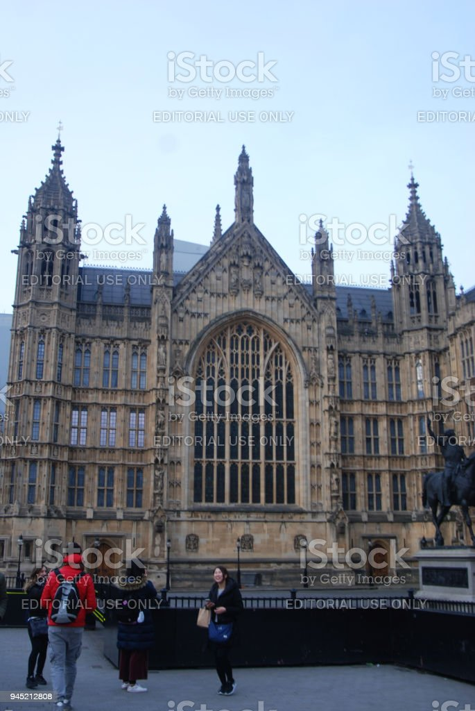 London, March 2018, close up Windows of Westminster Abbey St Margaret Church in England stock photo