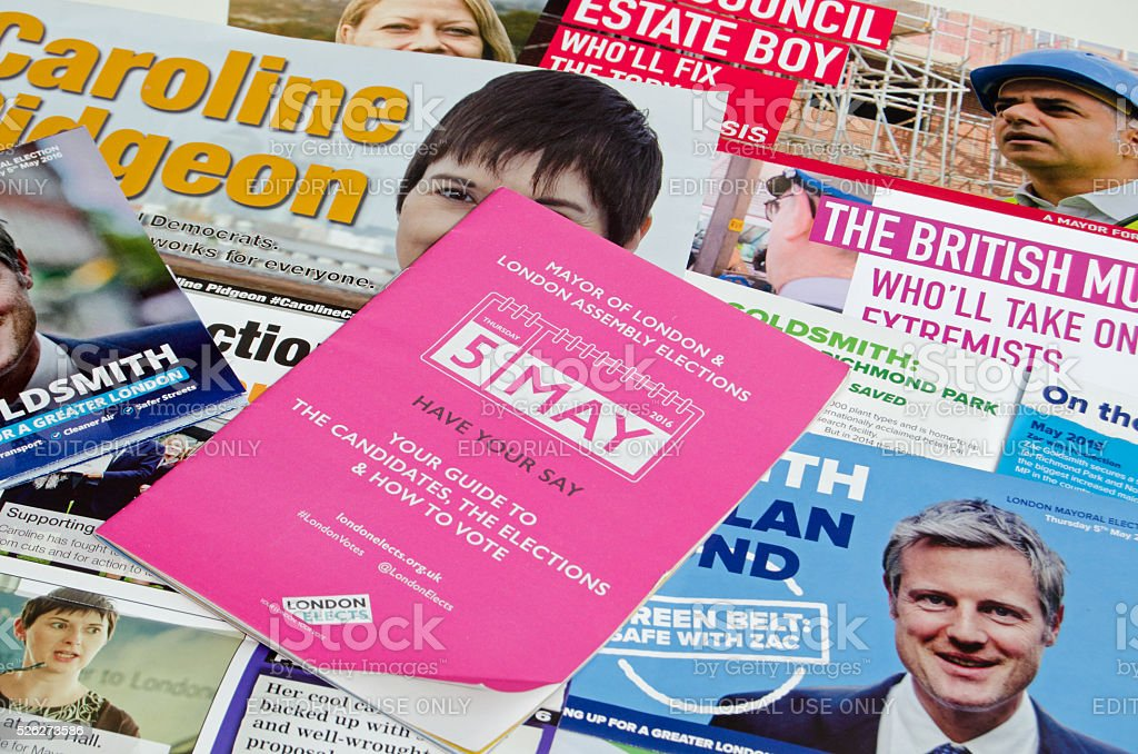 London Mayor election pamphlets stock photo