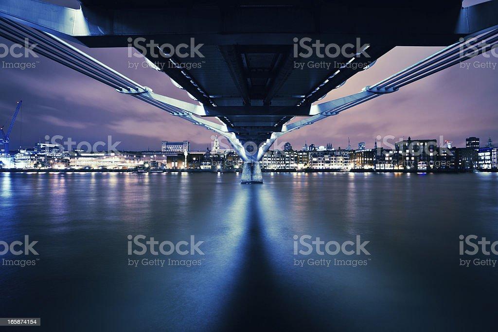 London Millenium Bridge at Night stock photo