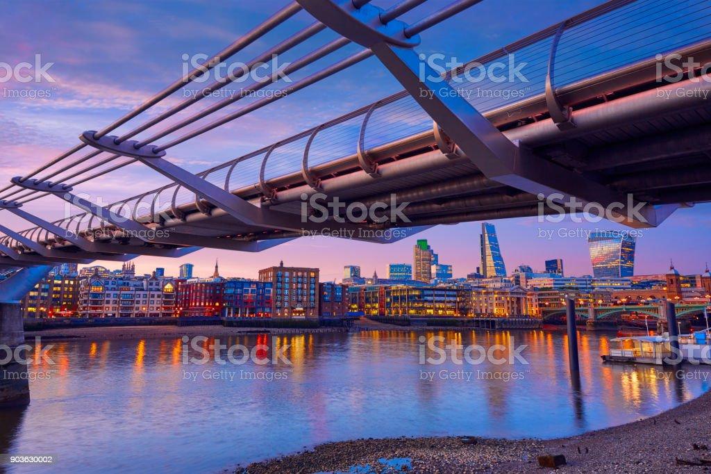 London Millennium bridge skyline UK stock photo