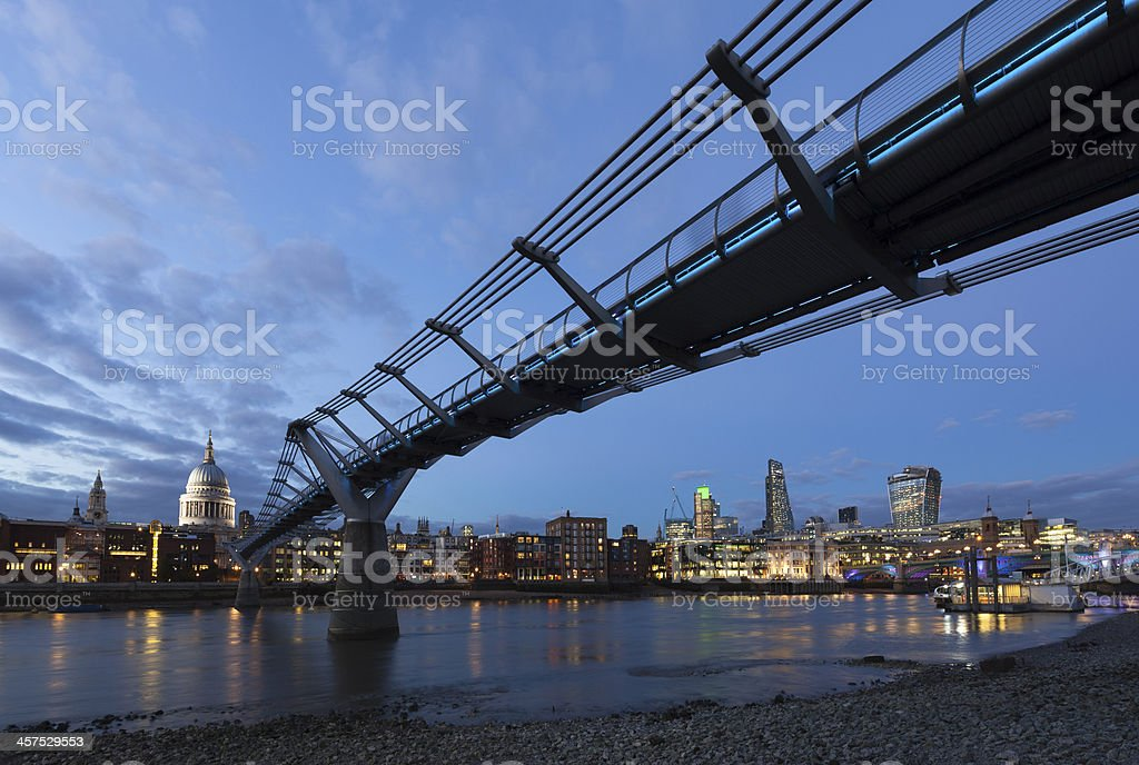 London Millennium Bridge St Paul's Cathedral and River Thames stock photo