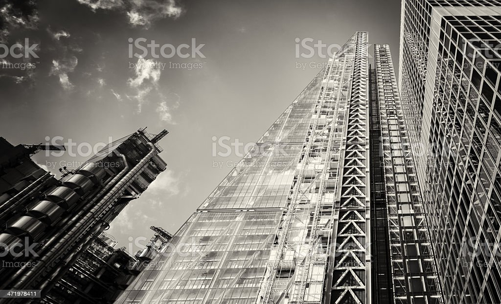 London modern office towers black and white stock photo