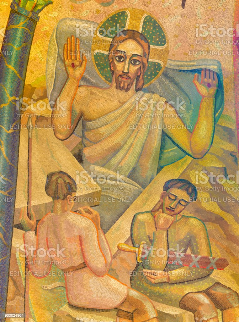 London - Mosaic of Resurrection of Jesus in Westminster cathedral stock photo