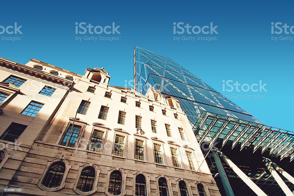 London New and Old with Leadenhall Building stock photo