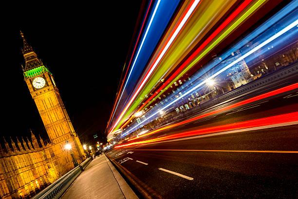 London night cityscape and lights stock photo
