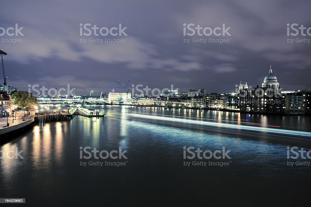 London Night Skyline with River Thames royalty-free stock photo