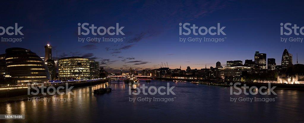 London night time Thames panorama royalty-free stock photo