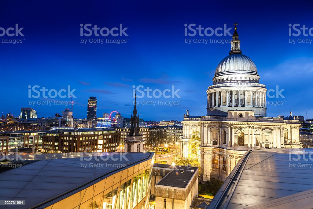 London night view from St. Paul's Cathedral stock photo