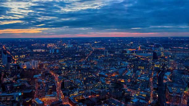 London Night View, Sunset. Toward London Eye, Houses of Parliament. stock photo