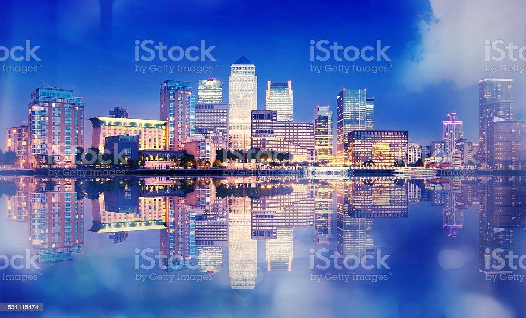 London, office buildings Canary Wharf in dusk stock photo