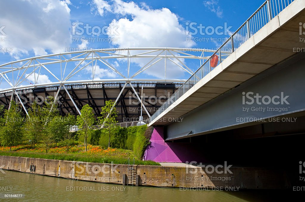 London Olympic Stadium and the River royalty-free stock photo