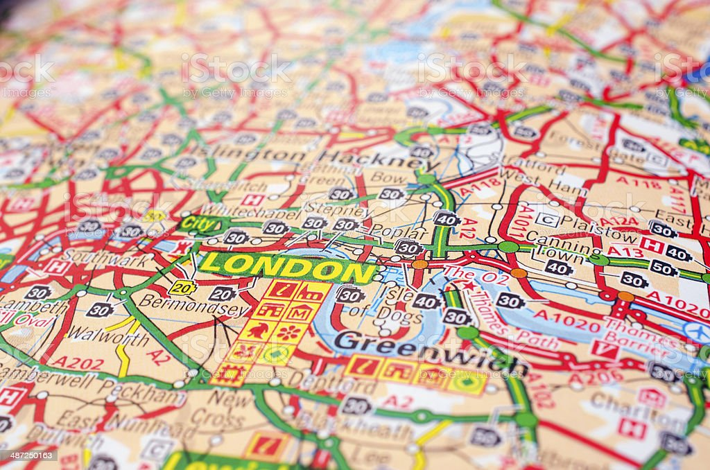 London on road map stock photo