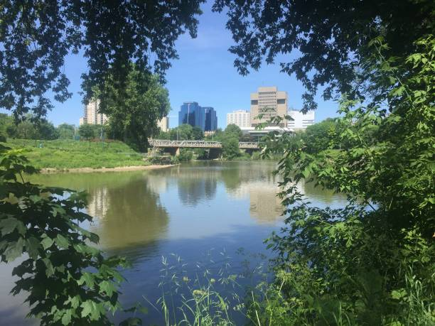 London Ontario skyline view rom Thames river stock photo