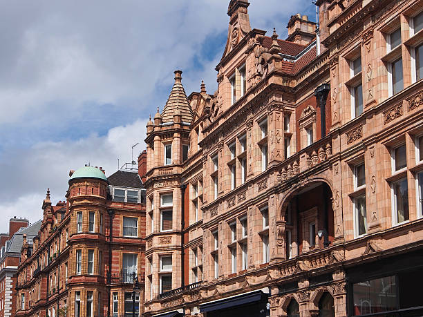 London, ornate facades Typical ornate apartment buildings found in upscale London areas mayfair stock pictures, royalty-free photos & images