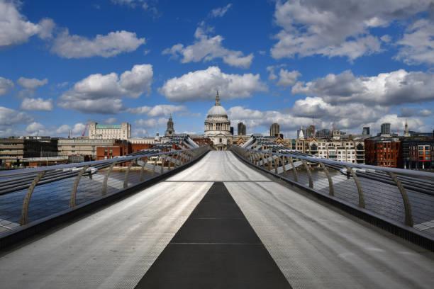 London pandemic - St Paul's and Millennium Bridge stock photo