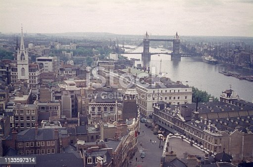 London, England, UK, 1960. London panorama with Thames from above.