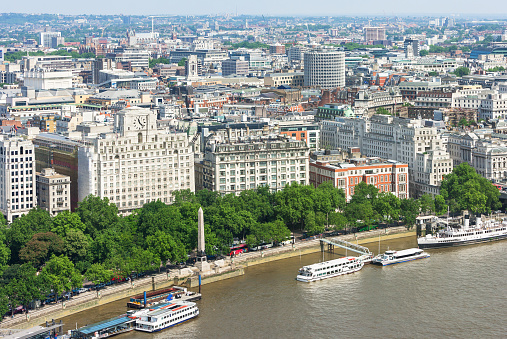 London panorama with Victoria Embankment on river Thames, UK