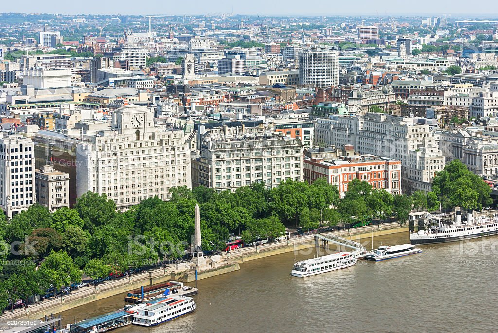 London panorama with Victoria Embankment on river Thames, UK stock photo