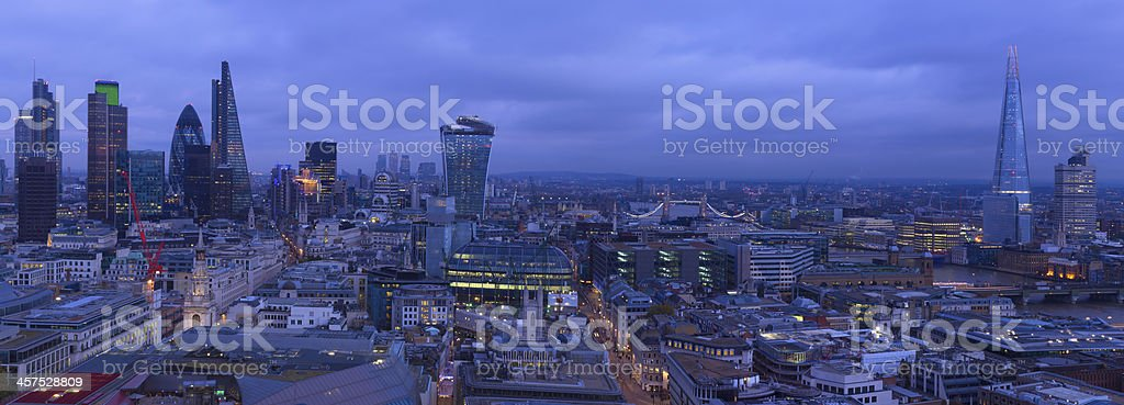 London Panoramic View of the City Thames and Shard stock photo