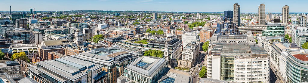London panoramic view over The City and Square Mile UK stock photo
