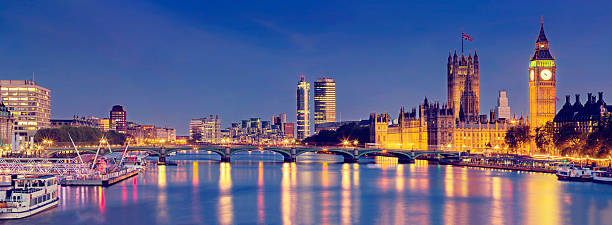 London panoramic with Westminster Bridge and The Houses of Parliament​​​ foto