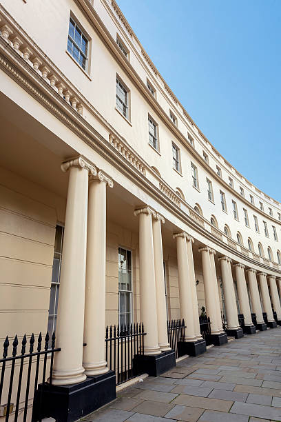 London Park Crescent View of the stucco buildings on Park Crescent near Regents Park, London. mayfair stock pictures, royalty-free photos & images