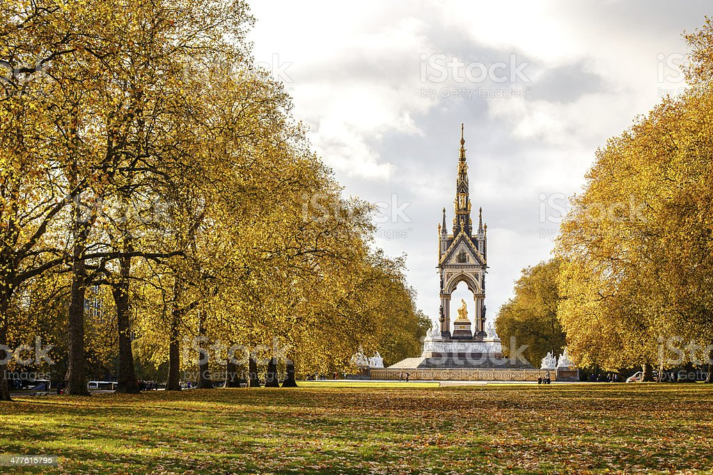 London park on a lovely autumn day. stock photo