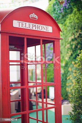 London phone booth. London red telephone. English symbol