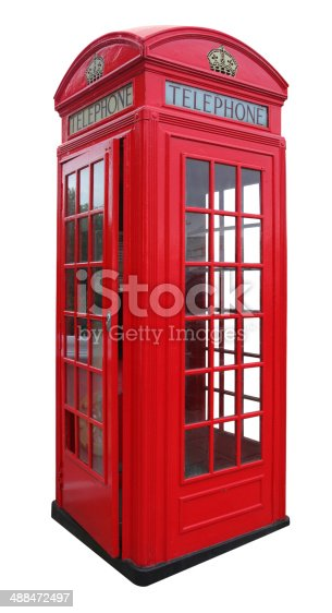 Red phone booth from London isolated on white background.