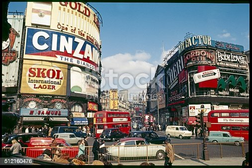 Piccadilly Circus, England, UK. Piccadilly Circus on sunny day, 1969.